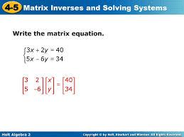 15 write the matrix equation