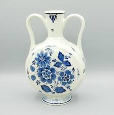 Chinoiserie Design On Pottery And Porcelain Delft Blue Vase H19cm Handpainted Dutch Royal Delftware