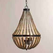elena wood bead chandelier pendant light luxury pottery barn