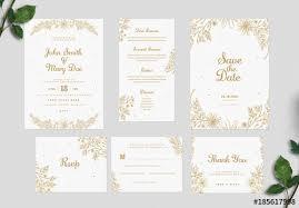 Wedding Invitation Set Templates Gold Floral Wedding Invitation Set Buy This Stock Template And