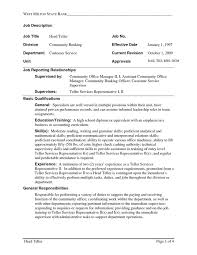 Bank Teller Resume Templates No Experience Bank Teller Skills