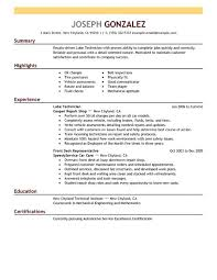 Lube Technician resume example
