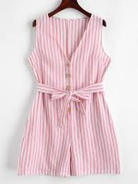 Light Pink Romper Striped Buttoned Belted Sleeveless Romper