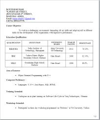 Resume Template For Freshers - Kleo.beachfix.co