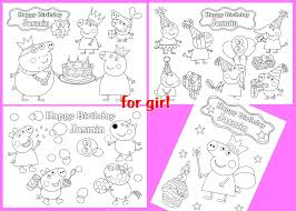 Peppa Pig Birthday Personalized Coloring Pages Activity Pdf File