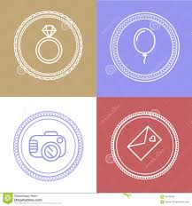 Linear Wedding Logos And Icons Outline Design For Invitations A