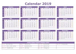 2019 Yearly Calendar With Us Holidays Printable Printables