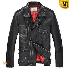 mens black leather biker jacket cw850214