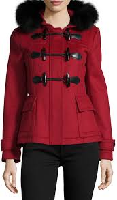 duffle coats burberry brit blackwell short wool coat with removable fur trim