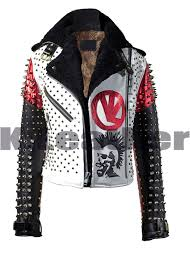 details about new vl multicolor studded spiked with fur leather jacket all size