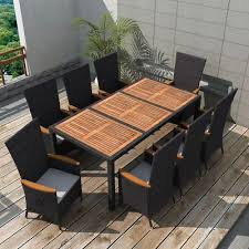 vidaxl outdoor dining set 17 piece poly rattan black wicker wood top table