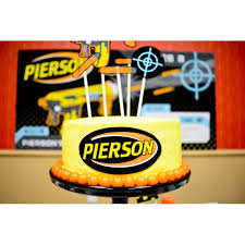 Gun Black Neon Birthday Party Printable Cake Toppers Set