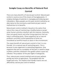 sample essay on benefits of natural pest control sample essay on benefits of natural pest control there are many benefits of natural pest control