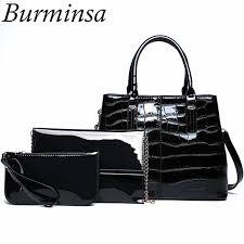 burminsa crocodile black patent leather handbags women shoulder messenger bags vintage composite bags with clutch purse handbags on leather bags from