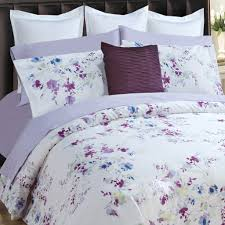 daniadown 55589d9 roce super king duvet cover set in white background with purple blue flowers