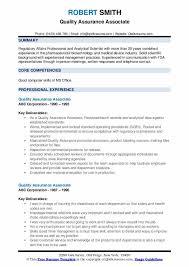 Quality Assurance Associate Resume Samples Qwikresume