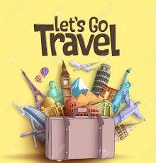 Tourism Banner Design Lets Go Travel Vector Banner Design With Famous World Tourism