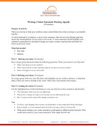 How To Write An Agenda Of A Meeting Writing A Vision Statement Meeting Agenda