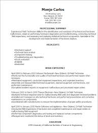 Resume Templates: Field Technician Resume