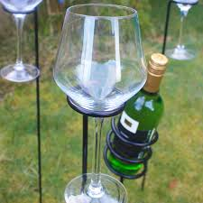 sentinel wine glass and bottle holder stake set for outdoor bbq s garden picnic
