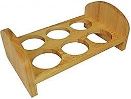 wooden 6 egg tray countertop tabletop egg holder serving rack display