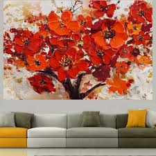 handpainted modern abstract decorative red flower oil painting on canvas wall art paint for living room