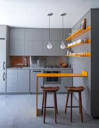 Kitchens:Minimalist Small Kitchen With Gray Cabinet Also Yellow Bar Table  And Yellow Shelves 18