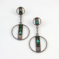 old zuni handmade sterling natural turquoise inlay chandelier earrings ps