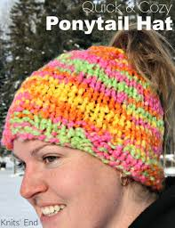 Ponytail Hat Knitting Pattern Magnificent Quick Cozy Super Easy Ponytail Hat Knitting Pattern Knits' End