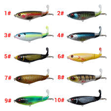 Us 2 55 25 Off 1pcs Whopper Plopper 105mm 17g Topwater Popper Fishing Lure Artificial Hard Bait Wobbler Rotating Tail Fishing Tackle 3d Eyes In