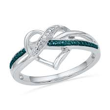 enhanced blue and white diamond accent swirled heart ring in sterling silver