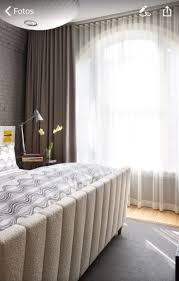 Elegant White Gray Curtain Ideas For Bedroom With Gray Stone Wallpaper As  Well Lighting In Ceiling And Gray Rug On Wooden Floor Also Striped Pattern  Bedding ...