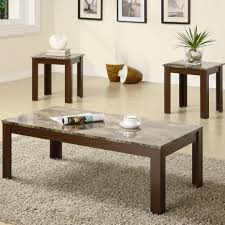 Marble Living Room Table Set Coaster 700395 3 Pieces Marble Top Coffee Table Set
