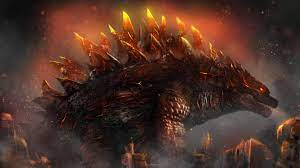 Black Godzilla With Fire On Eyes And ...