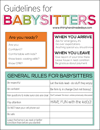 Guidelines For Babysitters Thirty Handmade Days