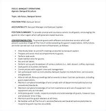Server Responsibilities Resume Banquet Server Job Description