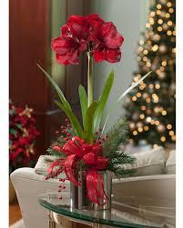 Handcrafted premium red amaryllis silk flower in a 6