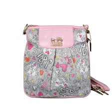 Coach Fashion Poppy Small Pink Grey Crossbody Bags EPW