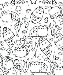 Printable Pusheen Coloring Pages Mermaids Get Coloring Page