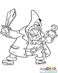 Patrick Coloring Pages Being A Pirate Coloring Pages Spongebob