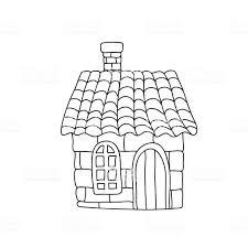 Grappig Sprookje Huis Kinderen Kleurplaten Pagina Geïsoleerd Op Wit