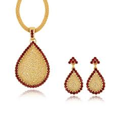 spargz oval gold plating cz diamond pendant necklace and drop earrings for women jewelry aips