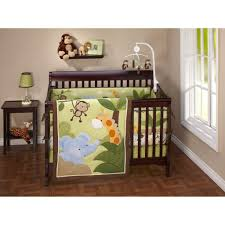 fair image of pink green girl baby nursery room decoration with pink jungle themed baby bedding including pleat pink light brown baby bed valance and