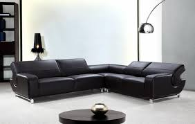 L Shaped Black Leather Sectional Sofa With Adjule Backrests