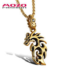 stainless steel silver gold dragon pendant necklace