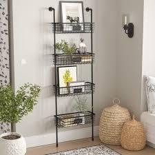 4 tier wire basket wall shelf