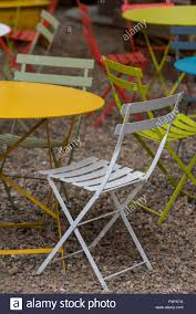 brightly painted furniture. Brightly Coloured Shabby Chic Garden Furniture. - Stock Image Painted Furniture M