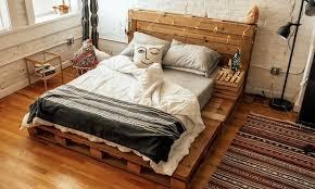 Bed Frame Made Of Pallets And Lights Pallet Beds Home Of The Original Pallet Bed