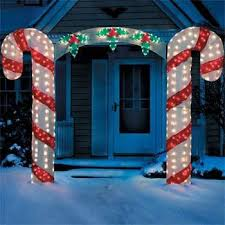 Outdoor Christmas Decorations Candy Canes Large Candy Cane Bow Arch Clear Lights Stake Christmas Yard 38