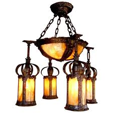 arts and crafts hammered chandelier with 4 lantern shades and center bowl shade